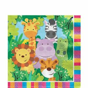 Childrens-Jungle-Zoo-Animal-Birthday-Party-Tableware-Supplies-Napkins-x-20