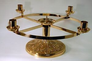 NICE ALTAR TOP ADVENT CANDLE WREATH IN SOLID POLISHED BRASS (CHALICE - CHURCH)