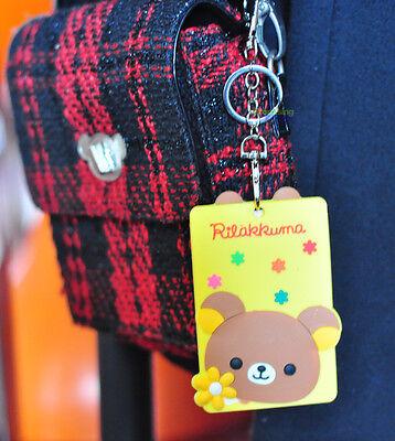 Cute Rilakkuma San-X Bear Badge ID Card Holder Cover & Key Ring Pendant c/w Hook