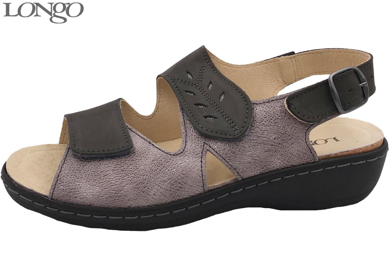 Longo Damen Sandale Grau Taupe Leder lose Einlage Sommer Schuh 1006419 NEU