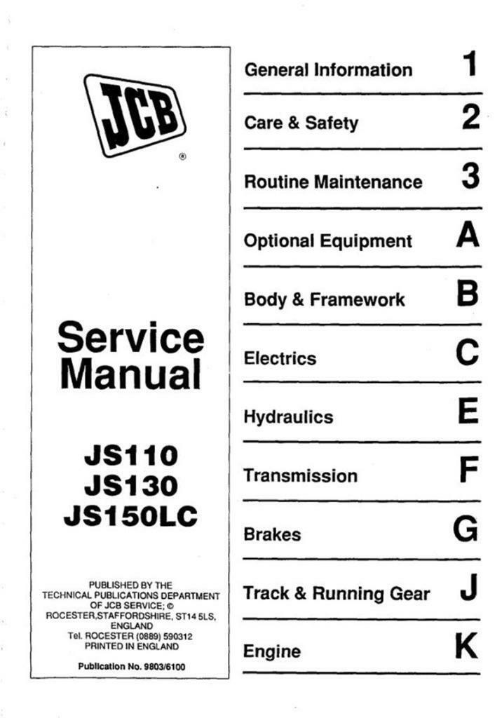JCB Js110_Js130_Js150lc_Tracked_Excavator_Service Workshop Manual