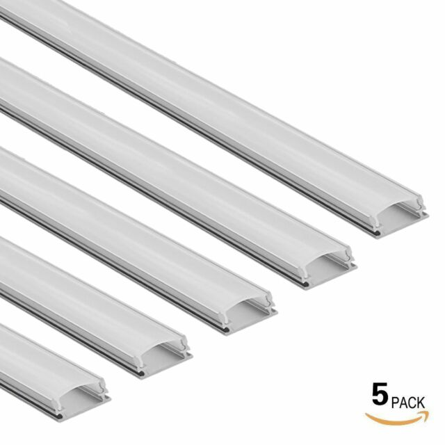 5-PACK 3.3ft Aluminum U Channel for flex/hard LED Strip Light w/Oyster Cover-U02