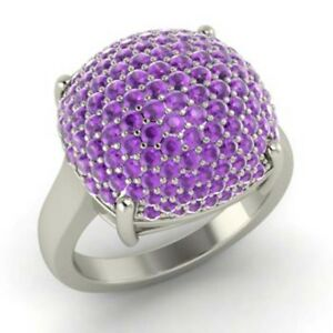 2-50Ct-Amethyst-Real-Gemstone-Ring-14K-Solid-White-Gold-Size-M