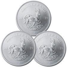 Lot of 3 2019 South Africa 1 oz Silver Krugerrand R1 Coins GEM BU SKU56935