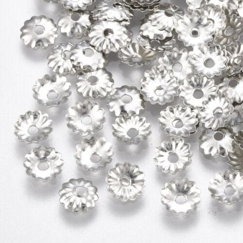 250 un Tapas de grano de plata antigua forma de flor 5mm ajuste cuentas de diámetro 6mm+