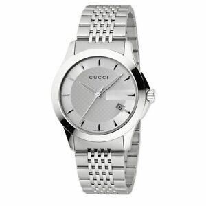 b7b098536bb5f Gucci G Timeless Mens Stainless Steel Bracelet Watch YA126401