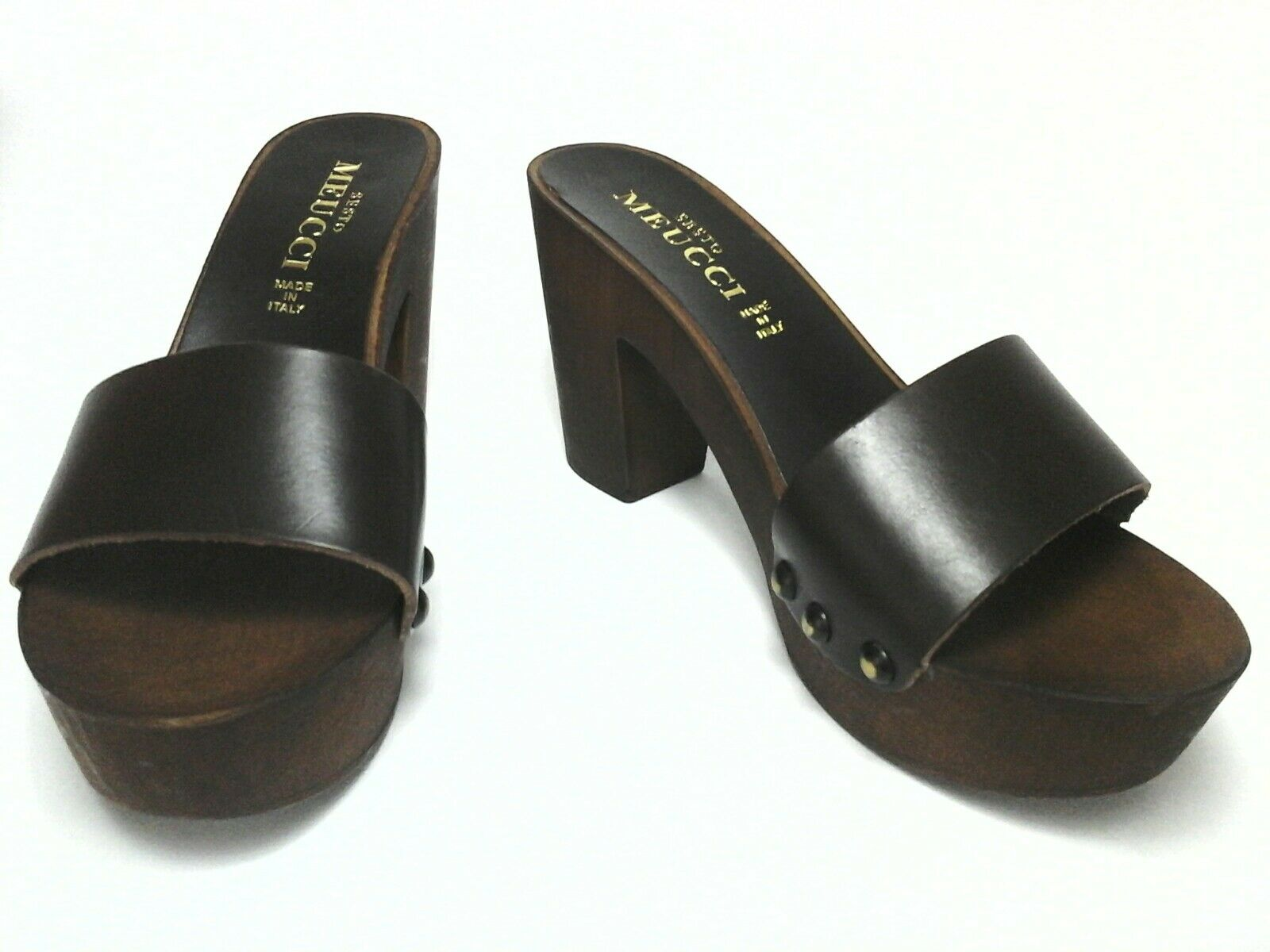Sesto Wooden Meucci Damenschuhe Braun Leder Wooden Sesto Platform Heel Slides Schuhes US 7 EU 37.5 fa99be