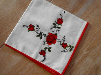 Liberal Antikes Taschentuch, Mit Rosen, Neu Hell Und Durchscheinend Im Aussehen
