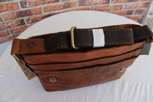 Echtes Leder Schultertasche Braun Messengertasche Umhängetasche Leather Bag #148