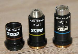 3-Zeiss-Mikroskop-Microscope-Objektive-Achromat-3-2-10-und-40