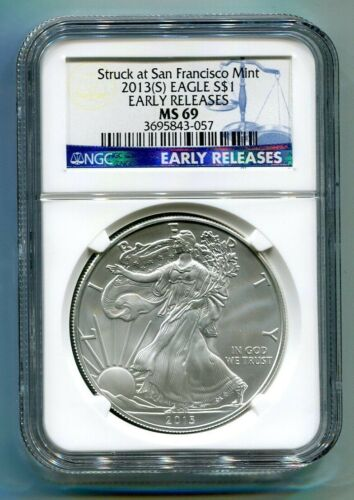 2013 S SILVER EAGLE SAN FRANCISCO MINT LABEL NGC MS69 EARLY RELEASES BLUE LABEL