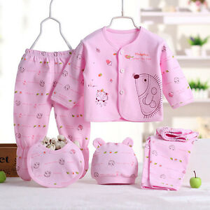 bb4c927b004d 5 Pcs Cotton Newborn Baby Clothes Sets 0-3 Month Boy Girls Sleepwear ...