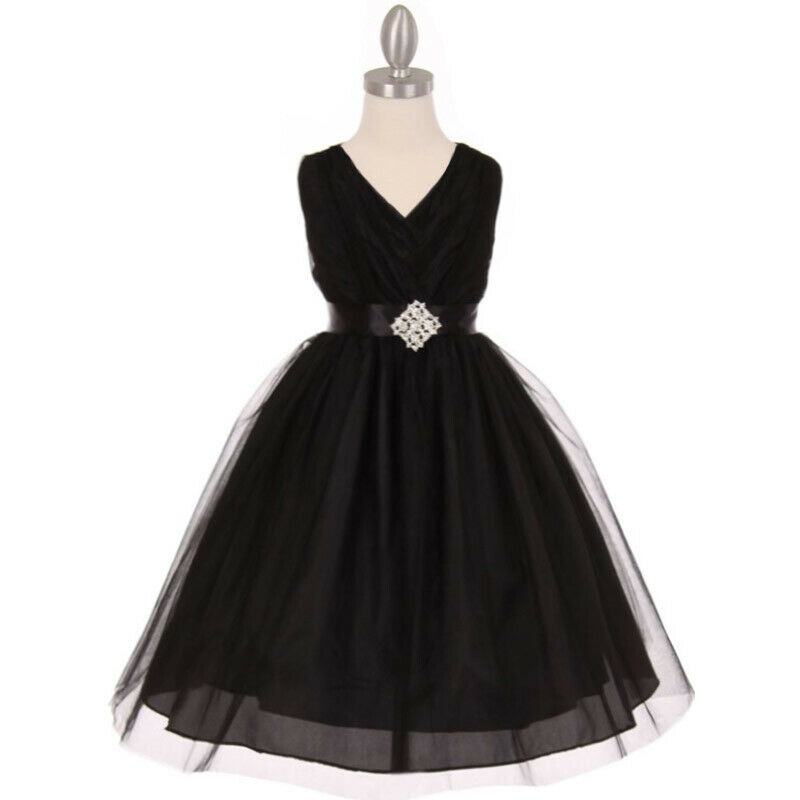 BLACK V-Neck Crystal Tulle Flower Girl Dress Birthday Wedding Bridesmaid Size 14