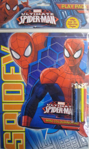 Spiderman ou vengeurs jouer Pack 2 tampons coloration /& 4 crayons /> 30 pages