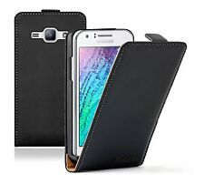 Ultra Slim BLACK Leather Case Cover For Samsung Galaxy Duos SM-J100H SM-J100H/DS