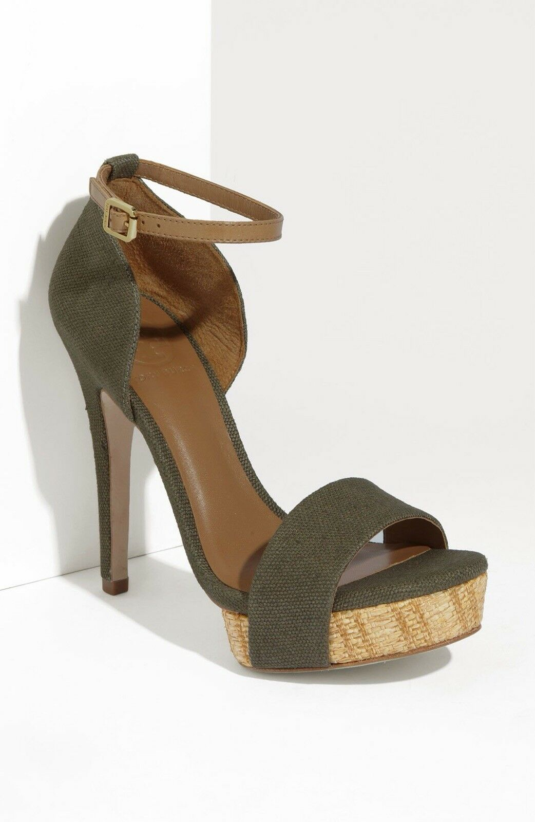 Tory Burch Amina High Heel Sandals In Olive Größe US 7 With Box