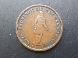 1837 One Penny, Bank Token. Province Du Bas Canada, Deux Sous. Extra Fine detail