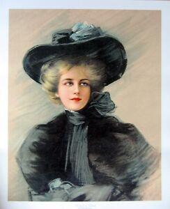 art-print-WOMAN-IN-BLACK-Boileau-Victorian-Lady-Hat-scarf-vtg-repro-18x22