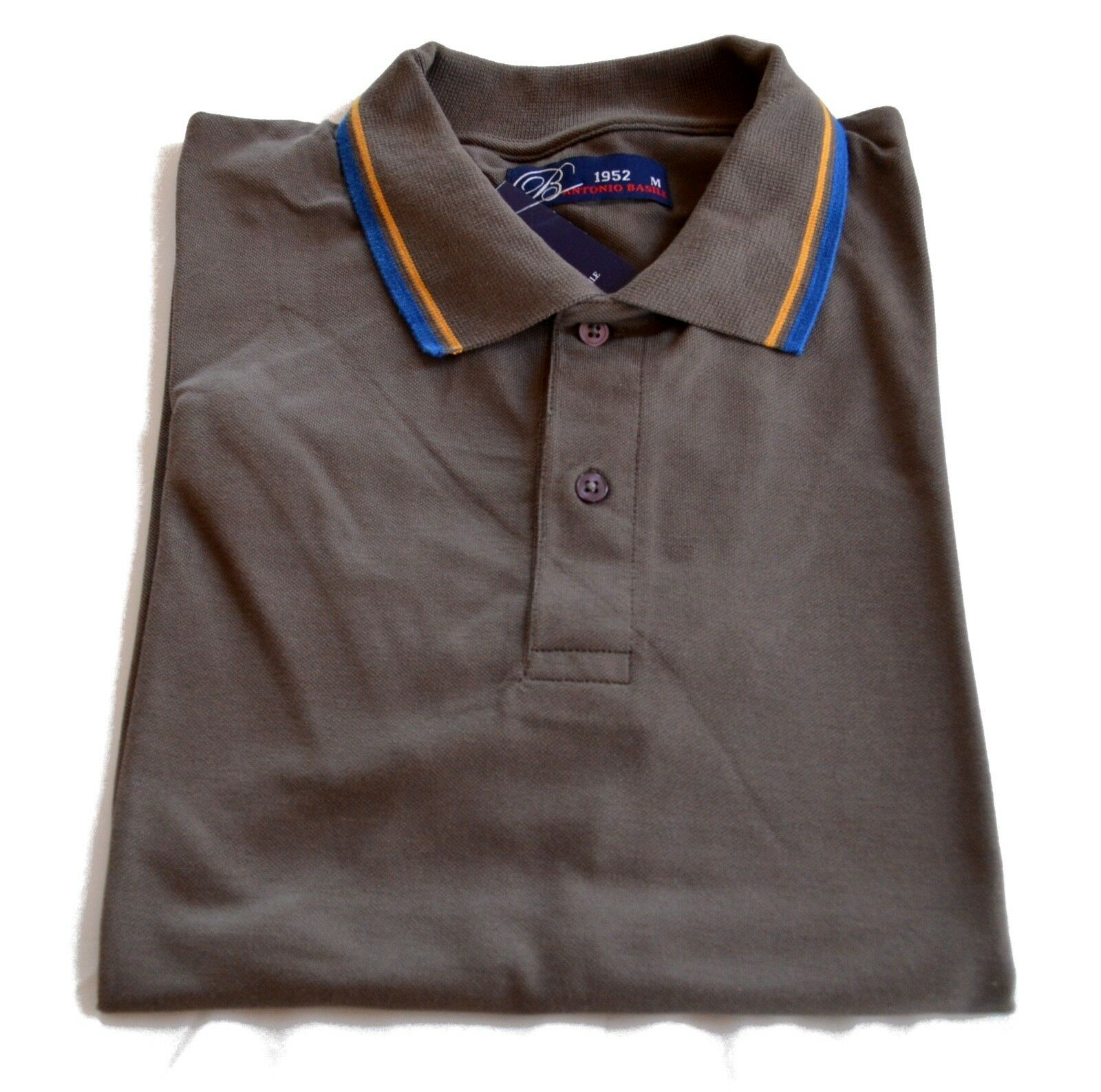 Polo Antonio Basile since 1952 Men 100% Cotton Styled in  T-shirt Nwt brown