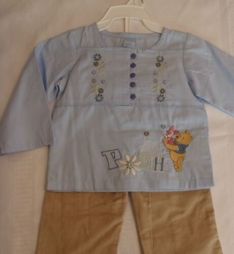 Disney Baby Girls 12 Month Corduroy Tan Pant Embroidered Blue Pooh Shirt NWT