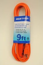 9 FT Orange Indoor Outdoor 3-Outlet Triple Tap 16/3 Grounding Extension Cord
