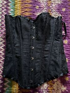 Black Pleated Satin Strapless Boned Corset elegant Lace up Bustier Sexy Top Sz M