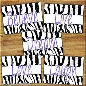 Zebra purple wall art prints decor live laugh love quotes bedroom