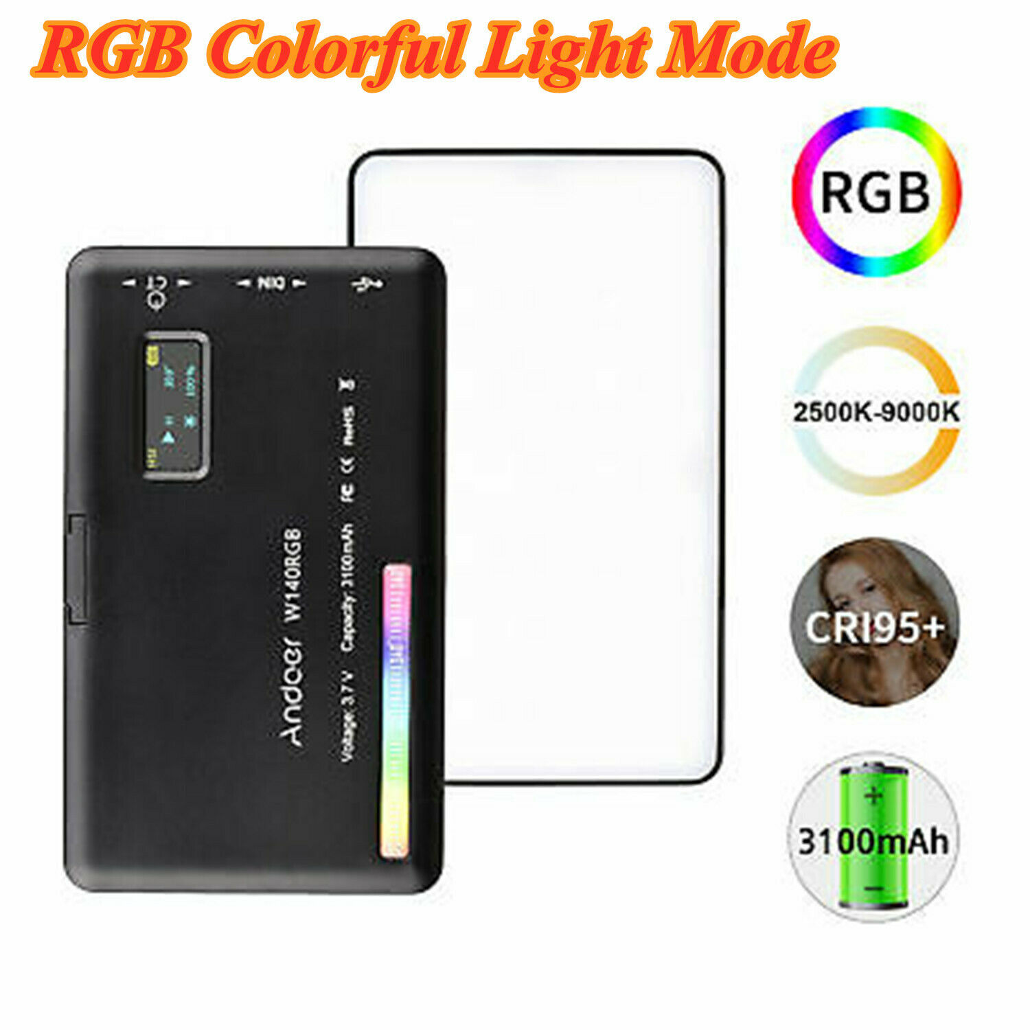 Andoer W140 RGB Dimmable LED Video Light Smartphone Vlog For Camera Photography