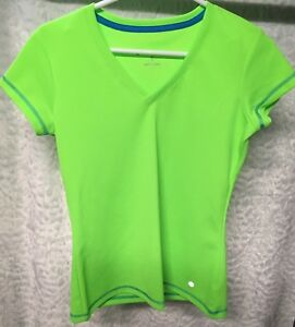 Bally Total Fitness Women's  Bally V Neck Top  Shirt size S Lime green Athletic