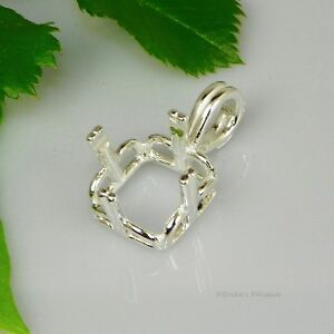 (10mm - 14mm) SQUARE REGALLE Pre-Notched Sterling Silver Pendant Setting