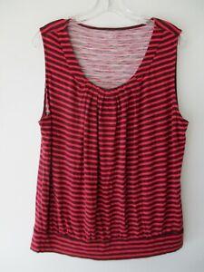 Ann-Taylor-Loft-Women-039-s-Size-XL-Extra-Large-Striped-Sleeveless-Blouse-Shirt-Top
