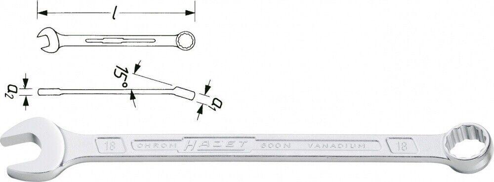 HAZET Ring-Maulschlüssel- Außen-Doppel-Sechskant Profil - 80 600N-80
