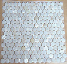 Mother Of Pearl Mosaic River Bed Pearl Shell Mosaic tiles Hexagon White # 886