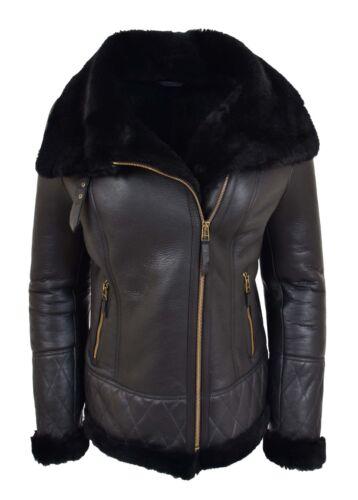 mouton Manteau femmes face double véritable peau double en face aviateur noir pour de wOqTC