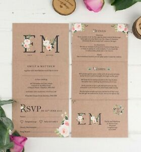 Wedding-Invitation-Kraft-Floral-Monogram