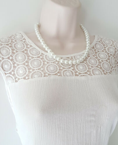 """diamante clasp Gorgeous 18/"""" long off white GLASS faux pearl bead necklace"""
