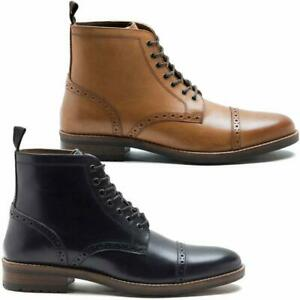 Mens-Leather-Boots-New-Smart-Formal-Brogue-Combat-Lace-Ankle-Boots-Shoes-Size