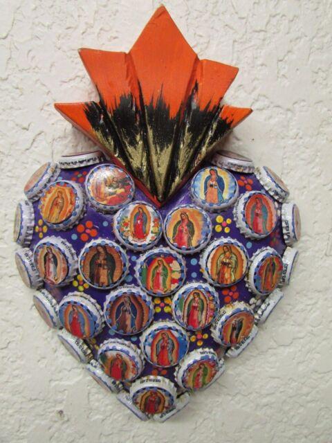Virgen de Guadalupe Sacred Heart #2-Mexican Folk Art-7.5x10-Wood-Handmade-Large
