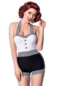 Retrò Bianco Mare Donna Nero Lady Vintage 50 Intero Anni Uy 50041 Costume bfI6vmYgy7