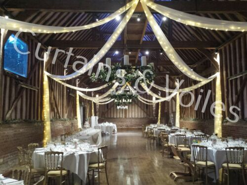 White FIRE RETARDANT Voile fabric roll 300 cm wide Wedding Event Drapes £4.30 PM