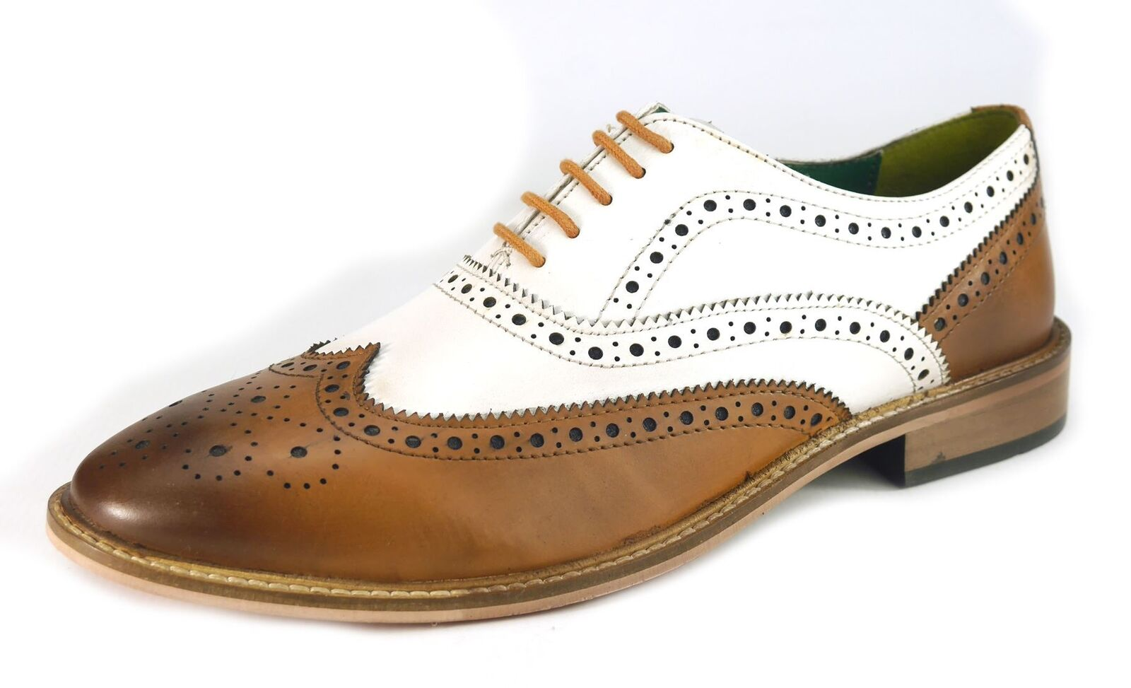 Frank James Zeno Brogues Lace Up Formal Mens Leather shoes Tan   White