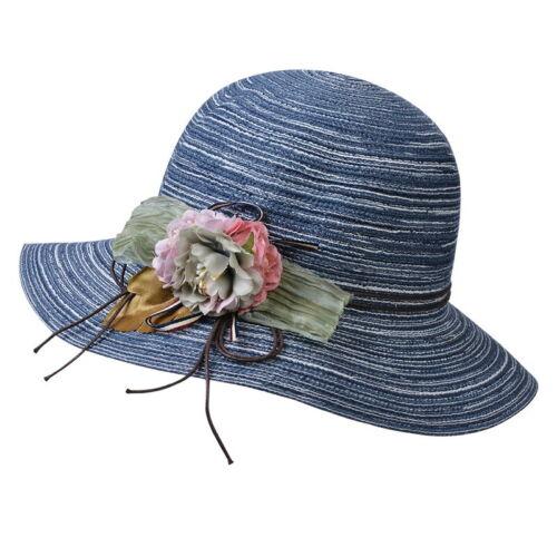 Faltbar Strohhut Mütze Sommer Strand Breite Krempe Blume Sonnenhut Anti UV Damen