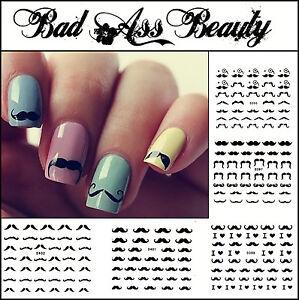 Black Moustache Tash 3D Nail Art Stickers UV Acrylic Decals Tips Decorations
