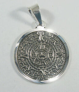 925 sterling silver flat aztec calendar pendant 1 diameter ebay image is loading 925 sterling silver flat aztec calendar pendant 1 aloadofball Image collections
