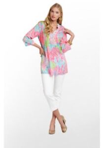 9e6cf228bd5ae5 Lilly Pulitzer Turquoise LET'S CHA CHA SARASOTA BEADED TUNIC ...