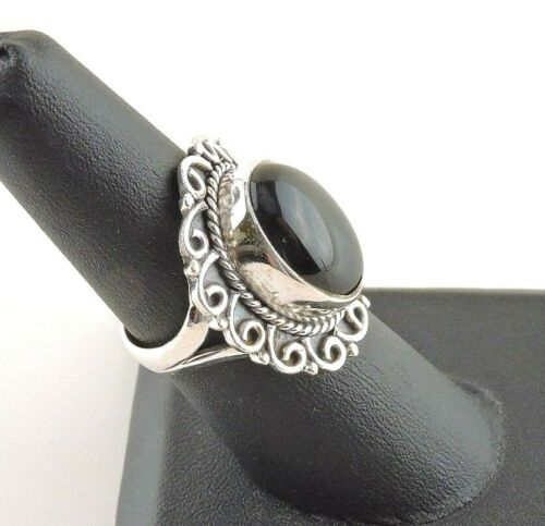 Sterling Silver 14 Ct Ovale Noir Onyx Bague