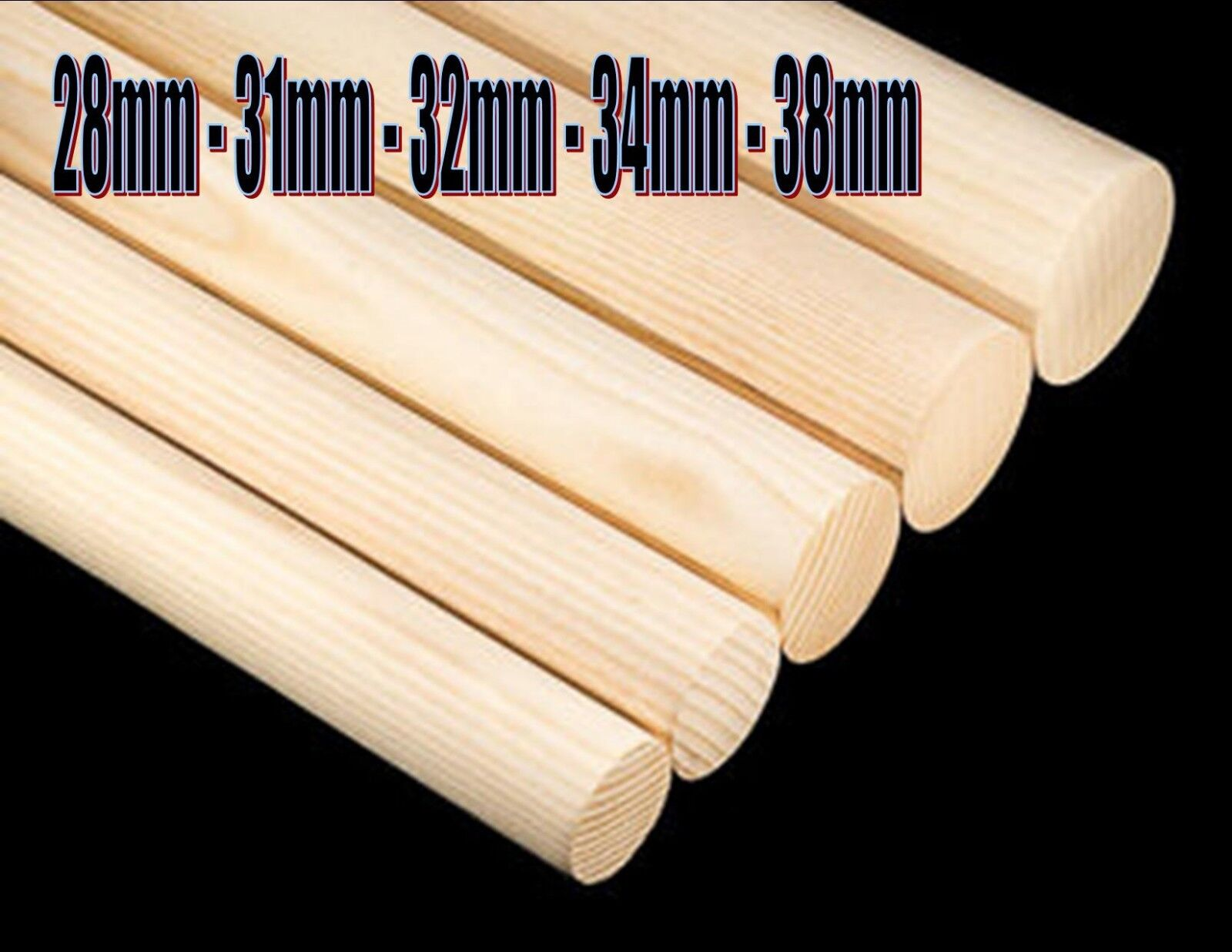 Wooden Hardwood Dowels clothes hanging handrail broom brush 28mm 31mm 34mm 38mm