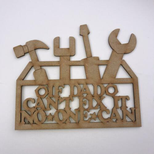 Laser Cut 3mm MDF Wooden Sign Craft Blank Dad Plaque Fathers Day Tool Box Fix IT