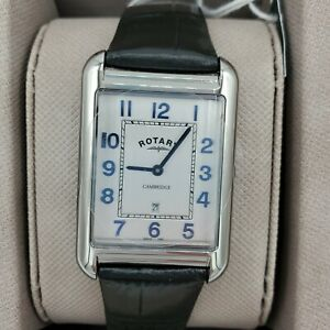 Rotary-Men-039-s-Cambridge-Oblong-Watch-with-Black-Leather-Band-GS05280-70