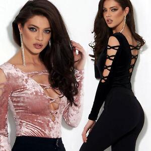 Alina Damentop S Bodie Pullover Bodysuit Body Damen M Oberteil Shirt Samt Xs By AIawI